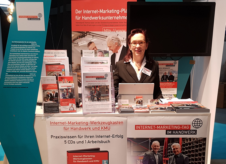 Margit Wellenreuther am Internet-Marketing im Handwerk Stand