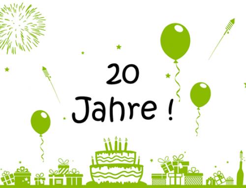 Wir feiern unser 20-jähriges Firmenjubiläum